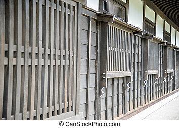 drewniany, okno, styl, japończyk