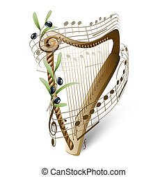 drewniany, oliwki, harfa