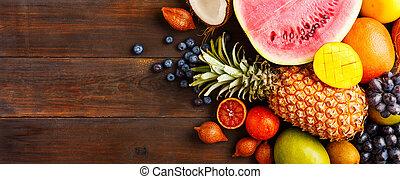 drewniany, owoc, tło, dojrzały
