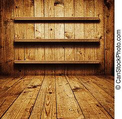 drewniany, półka, książka
