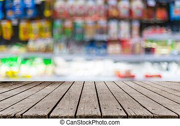 drewniany, półka, wizerunek, supermarket, zamazany, stół