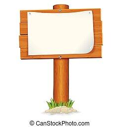 drewniany, paper., odizolowany, znak, wektor, grafika