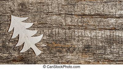 drewniany, papier, drzewo, boże narodzenie, tło