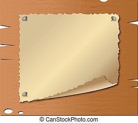 drewniany, papier, stary, deski