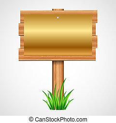 drewniany, papier, złoty, znak
