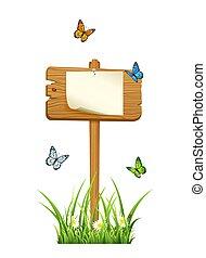 drewniany, papier, znak