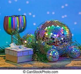 drewniany, piłki, boże narodzenie, tło, lustro