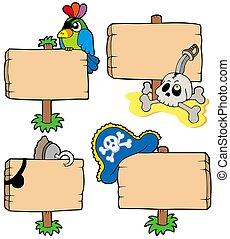 drewniany, pirat, zbiór, znaki