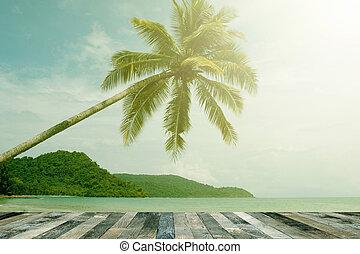 drewniany, prospekt, nad, morska podłoga