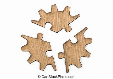 drewniany, przybory, wyrzynarka, odizolowany, kawałki, tło, biały, zagadka