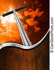 drewniany, religijny, krzyż, tło