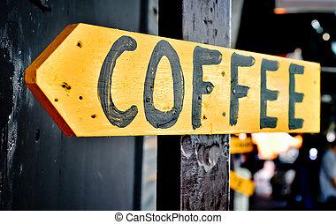 drewniany, retro, kawa magazyn, znak