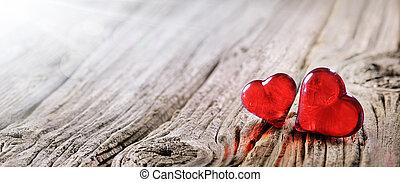 drewniany, rocznik wina, list miłosny, dwa, tło, serca, stół, dzień, czerwony