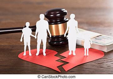 drewniany, rozwód, pojęcie, biurko