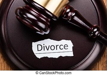 drewniany, rozwód, pojęcie, pobijak