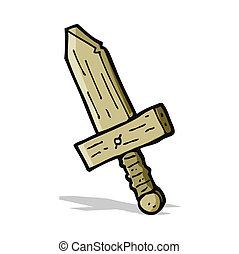 drewniany, rysunek, miecz