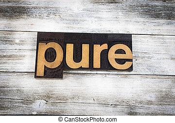 drewniany, słowo, letterpress, tło, czysty