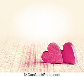drewniany, serca, dwa, tło, czerwony