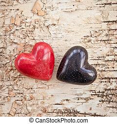 drewniany, serca, dwa, tło