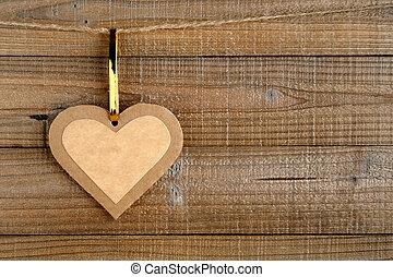 drewniany, serce, papier, tło