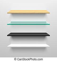 drewniany, shel, czarnoskóry, biały, szkło
