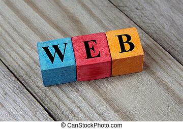drewniany, sieć, kostki, barwny, tekst