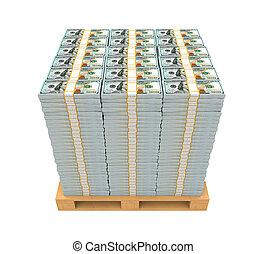 drewniany, siennik, stóg, pieniądze