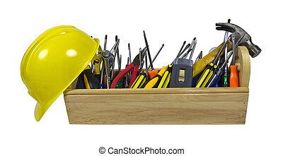 drewniany, skrzynka na narzędzia, twardy kapelusz, długi
