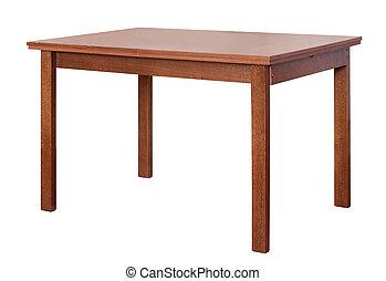 drewniany stół, biały, odizolowany, tło
