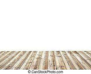 drewniany stół, odizolowany, na białym, tło