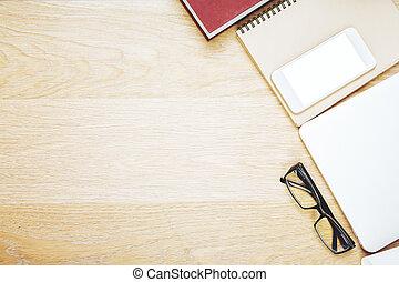drewniany stół, z, biurowe pozycje, i, urządzenia