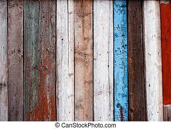 drewniany, stary, płot, wielobarwny