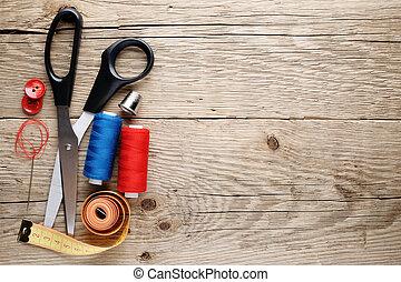 drewniany, szycie, przybory, tło