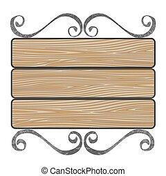 drewniany, szyld, deski