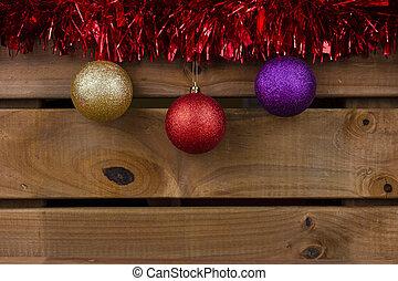 drewniany, tło, ozdoby, boże narodzenie