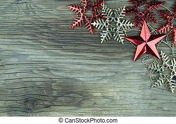 drewniany, tło., stary, gwiazdkowe ozdoby