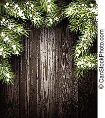 drewniany, tło., zima