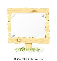drewniany, tablica ogłoszeń, papier, czysty