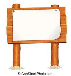 drewniany, tablica ogłoszeń, papier, listek, znak