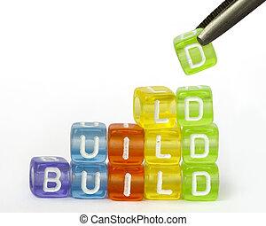 drewniany, tekst, kostki, budować, barwny