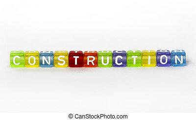 drewniany, tekst, zbudowanie, kostki, barwny
