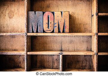 drewniany, temat, pojęcie, mamusia, letterpress