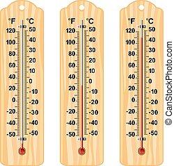 drewniany, termometry, komplet, wektor