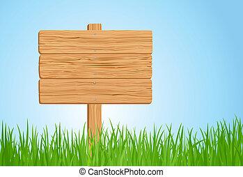 drewniany, trawa, ilustracja, znak