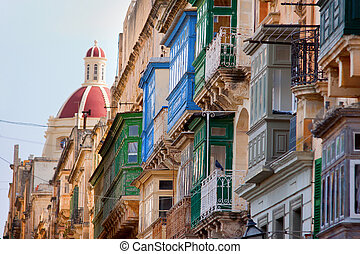 drewniany, valletta, balkony, malta