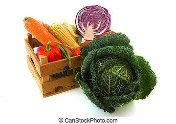 drewniany, warzywa, paka
