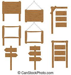 drewniany, wektor, deski, znaki