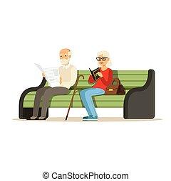 drewniany, wektor, posiedzenie, ława, książki, seniorzy, barwny, ilustracja, litery, czytanie