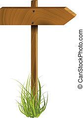 drewniany, wektor, wskazówka, ilustracja