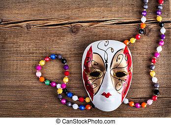 drewniany, wenecka maska, tło, karnawał